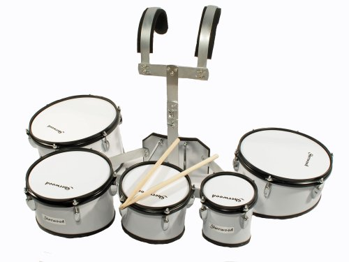 marching-drum-set-5-trommeln-mit-tragegestell-weiss