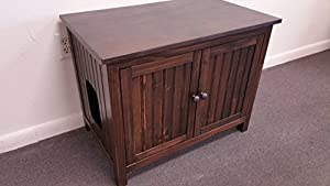 Odor Free Cat Litter Box Cover Cabinet. Left Opening for Cat. Proudly Made in Usa. Wood, No Assembly Needed. Espresso