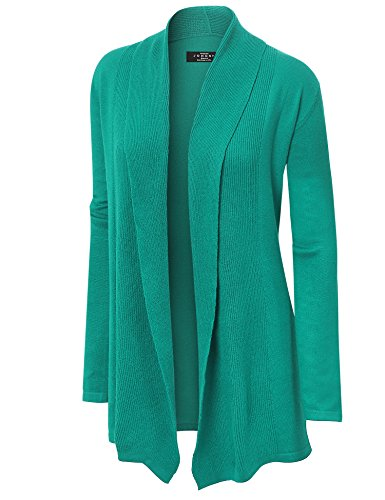 MBJ WSK904 Womens Open Front Draped Knit Shawl Cardigan L GREEN