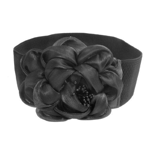Ladies Black Velvet Flower Accent Elastic Fabric Cinch Belt
