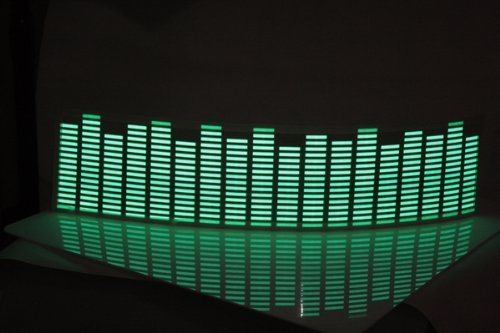 Koolertron 900*250mm Sound music Activated Car Stickers Equalizer Glow with Green Light