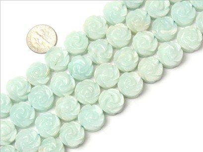 14mm flower gemstone amazonite beads strand 15
