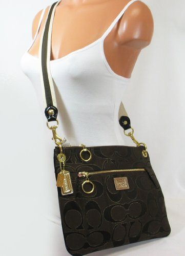 2dd5638bf2 Good bargain Coach Poppy Signature Hippie Crossbody Messenger Bag Purse  18135 Brown sale off