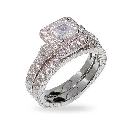 Princess Cut Halo Heirloom CZ Wedding Ring Set Bridal Sets Discounts