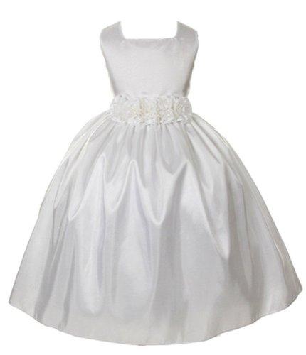 Sweet Kids Girls Slvless Dress Rolled Flw Waistband 5 White (Sk 3047) [Apparel]