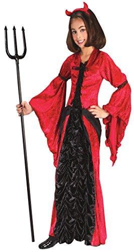 [Girls Devil Princess Kids Child Fancy Dress Party Halloween Costume, S (4-6)] (Red Devil Child Costume)