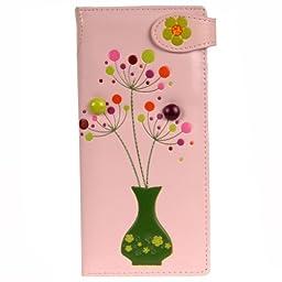 Shagwear Women\'s Large Wallet (Baby Pink Flower)