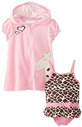 Wippette Baby-Girls Infant Giraffe Swimsuit & Cover Up, Pink, 12 Months