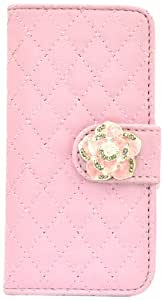 Apexel Diamond Lattice Leather with Camellia Button Cellphone Case for iPhone 5/5S - Frustration-Free Packaging - Pink