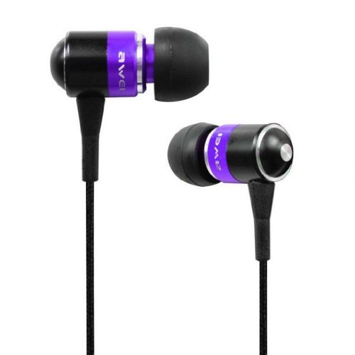 Awei® Es-Q3I Noise Isolation Precise With Precise Bass 3.5Mm Headphones Metal Earphones With Mic For Iphone 4/4S/5/5S Ipod Samsung Htc (Purple)