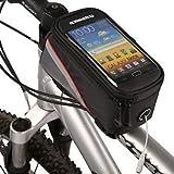Housweety Schwarz mit roten R�ndern Fahrradtasche Rahmentasche mit klarem PVC-Bildschirm f�r Samsung Galaxy S3/S4 iphone4 4S iphone5 /5s htc usw,18cmx9cmx8cm
