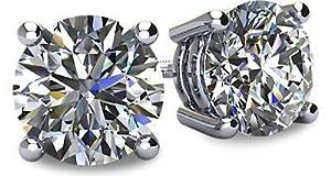 0.25tcw 14 Karat Platinum Screwback Round Brilliant Cut Diamond Earrings