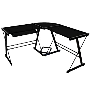 Walker Edison Soreno 3-Piece Corner Desk, Black with Black Glass