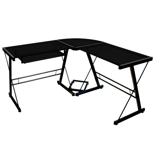 Walker Edison Soreno 3-Piece Corner Desk, Black