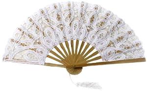 Koyal Wholesale Battenburg Lace Hand Fan, White