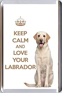 A fridge magnet with a picture of a cream Labrador Retriever Dog with the wording KEEP CALM AND LOVE YOUR LABRADOR from our unique KEEP CALM and CARRY ON gift range. An original Birthday or Christmas stocking filler gift idea for a dog lover!