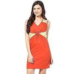 Citrine Women's Body Con Dress (ZCMAWWD0029_Rust Beige_Medium)
