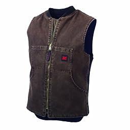 Tough Duck Men\'s Washed Quilt Lined Vest, Chocolate, Medium