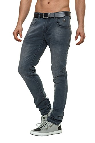 Crosshatch Jeans Slim Fit Uomo Pantaloni Denim Grigio W32 L30