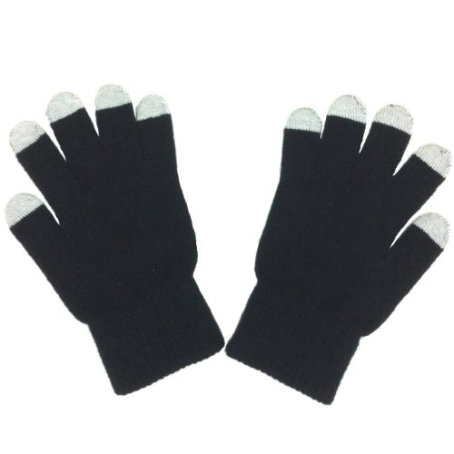 Plain Solid Color Touch Screen Gloves - Black