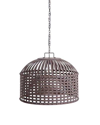 Metal Basket Weave Chandelier, Rust