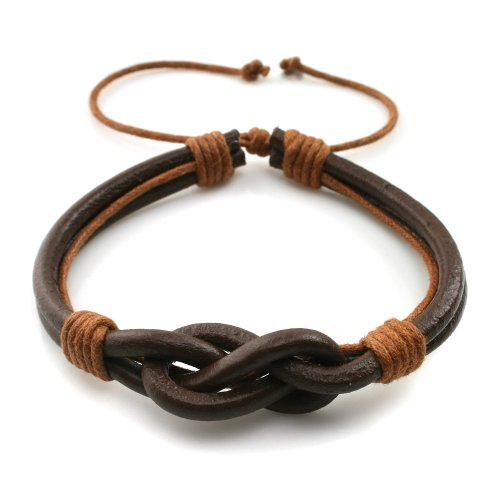 Handmade Countryside Style Genuine Real Leather Braid Infinity Lock Bracelet, Young and Cool, Adjustable Size, Gift for Him for Her, Unisex (Lt. Brown Leather - Lt. Brown Wax Rope)