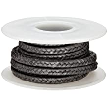 Palmetto Style 1390 PTFE Compression Packing Seal, Graphite Coating, Inert Lubricant, Black