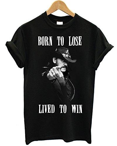"""T-shirt Uomo Lemmy """"Born To Lose"""" - Maglietta motorhead 100% cotone LaMAGLIERIA, XL, Nero"""