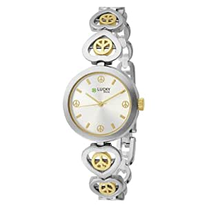 Lucky Brand Women's 161199SVTT Two-Tone Round Peace Sign Bracelet Watch