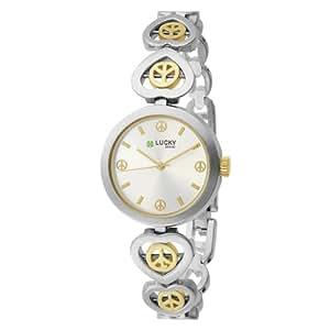 Lucky Brand Women's 161199SVTT Two-Tone Round Peace Sign Bracelet Watch