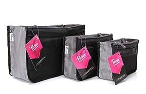 Periea - Organiseur de sac à main, 12 Compartiments - Chelsy (Noir, Grand: H20 x L33.5 x P2-26cm)