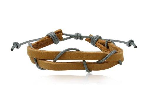 Fashion Brown & Gray Leather Wrap Cuff Rasta Bracelet Men's Jewelry