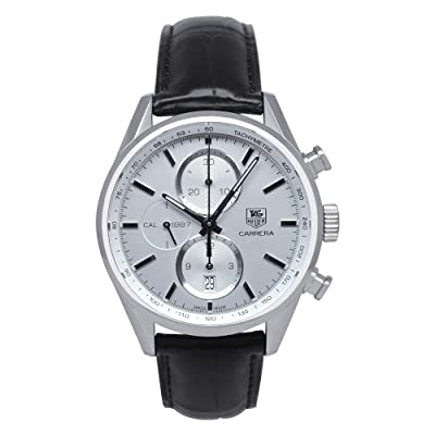 Carrera Men's Watch Face Color: Silver, Band Color: Black
