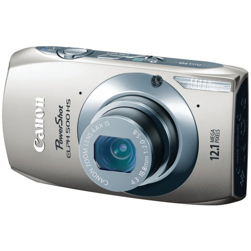 Canon PowerShot ELPH 500 HS 12 MP CMOS Digital Camera with Full HD Video and Ultra Wide Angle Lens (Silver)