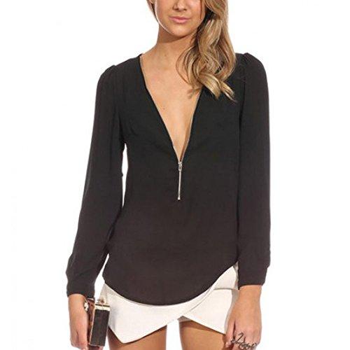 Fancyqube(TM) Women's Sexy Zipper V-neck Long Sleeve Chiffon Blouse Shirt Tops
