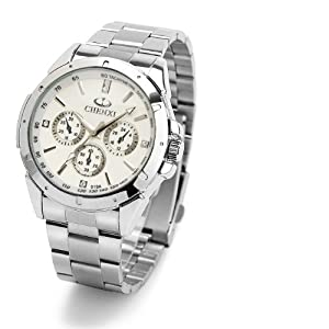 Waterproof outdoor sports Glow Fashion Watch Quartz Business Men Watches (White)