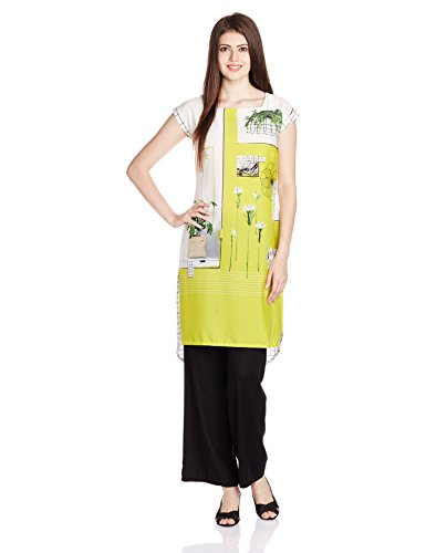 W for Woman Women's Straight Kurta (16FE15743-57045_Green_12)  available at amazon for Rs.599