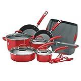 Rachael Ray Porcelain Enamel II Nonstick 15-Piece Cookware Set, Red