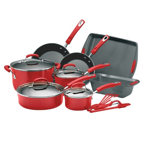 Rachael Ray Porcelain Enamel II Nonstick 15-Piece Cookware Set, Red
