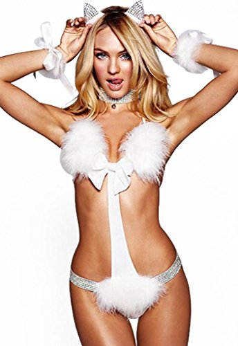 Cfanny Women's Kitty Cat Exotic Costume Halloween Adult Burlesque Lingerie Set