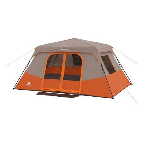 Ozark trail 8 person 2 room instant cabin tent orange tan for Small 2 room tent