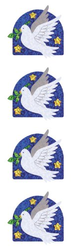 Jillson Roberts Prismatic Stickers, Christian, Dove with Olive Branch, 12-Sheet Count (S7289)