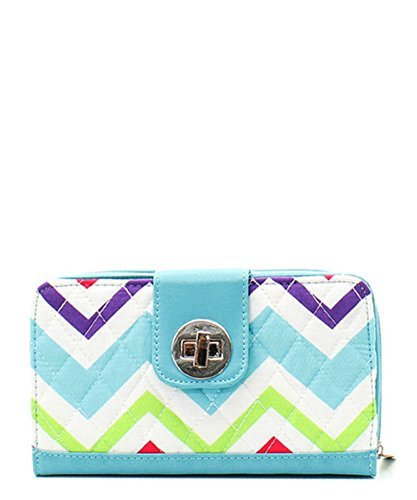 Rainbow Colored Chevron Print Quilted Twist And Zipper Lock Wallet Color: Aqua - 1