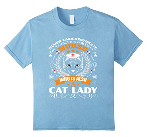 [Kids Nurse Cat Lady T shirt - Nurses Gift 12 Baby Blue] (Midwife Costume For Kids)