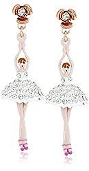 "Betsey Johnson ""Ballerina Rose"" Pave Ballerina Drop Earrings"