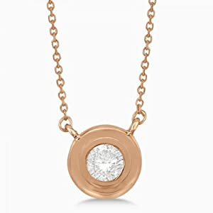 Allurez Women's Round Diamond Solitaire Bezel Setting Pendant In 14K (0.30 Carat) Rose Gold