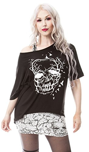 Skull Crow Dama Top Set Mette Schedel in takken Print Zwart/Wit - Gothic metallo Emo nero Medium