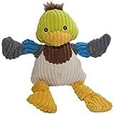 HuggleHounds Plush Corduroy Durable Knotties Duck Dog Toy, Large