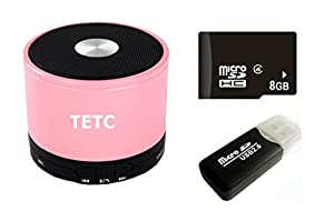 TETC Wireless Mini Bluetooth speaker HiFi Audio player with MIC For iPhone 5 ipad 3 Ipad 4 smart phone with Rechargeable Battery and Enhanced Bass Resonato (L-pink)+ one 8G Card + one Card Reader by TETC