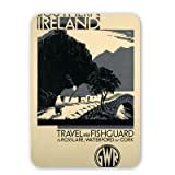 Southern Ireland via Fishguard to Rosslare, Waterford or Cork - Mouse Mat - Highest Quality Natural Rubber